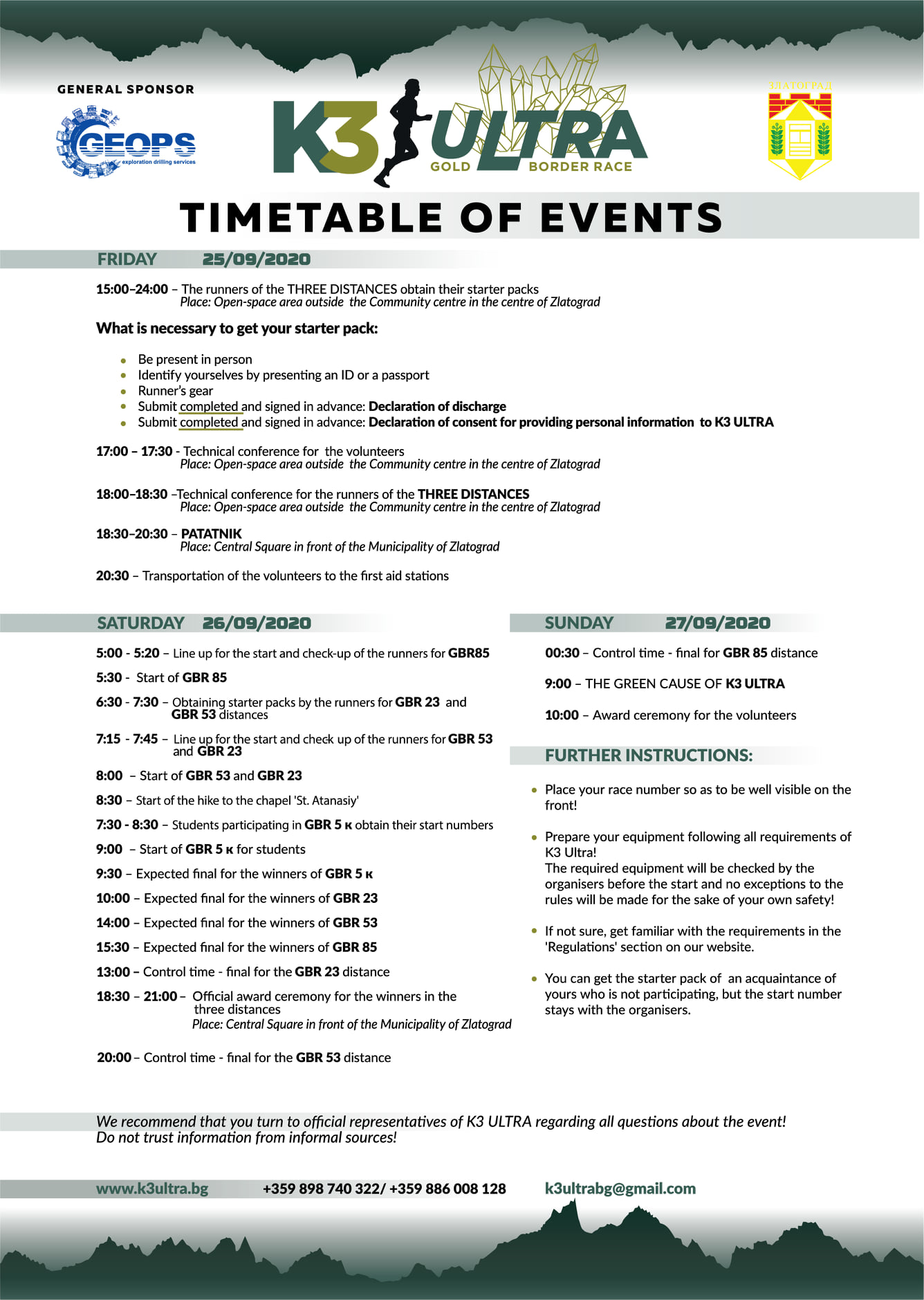K3 Ultra 2020 Timetable of events